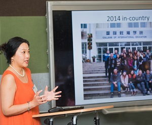 "CDU Chinese studies lecturer Amy Yu presents at the ""CDU Engagement with China"" event"