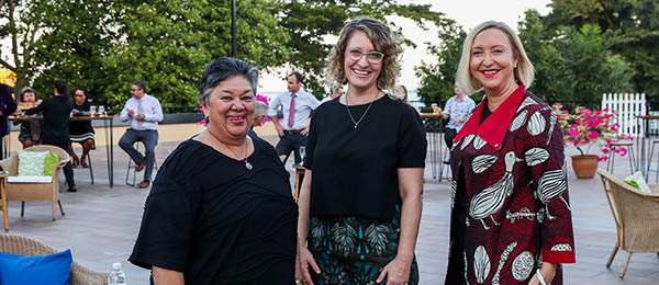 From left: Aunty Bilawara Lee, Vicki Kerrigan and Her Honour the Honourable Vicki O'Halloran AO at the Ask the Specialist podcast launch