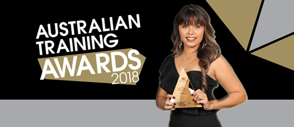 Business Administration student Kimberly Brewster with her Australian Training Award trophy