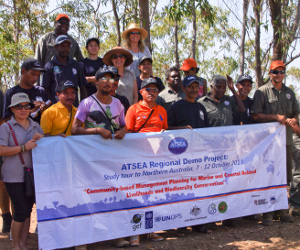 ATSEA participants are welcomed to country by Dhimurru Aboriginal Corporation staff