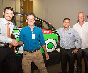 From left: Student David Eves and industry's Terry Lawler with Trades team leader Jamie Finn and lecturer Grant Mauger