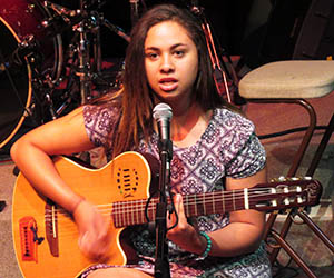 Keahnu Bishop performs at the Battle of the School Bands heat in Alice Springs