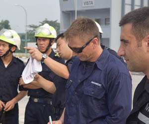 Dr Ben Fisk attends the simulated search and rescue training