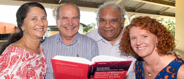 """(From left) Mrs Nancy Devlin, Dr Brian Devlin, Professor Tom Calma AO and Dr Samantha Disbray at the """"History of Bilingual Education in the Northern Territory"""" book launch"""