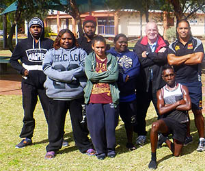 Bill Adams (2nd from right) with sport and recreation students from MacDonnell Regional Council