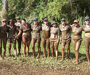 CDU and Menzies staff bonded over the mud and other obstacles at the Blood, Sweat and Fears challenge