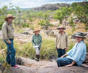 DCBR lead researcher Professor Jeremy Russell-Smith, volunteer Dianne Lucas, and DCBR researchers Jay Evans and Dominique Lynch are helping to build a picture of the impact of fire on the tropical savanna landscapes