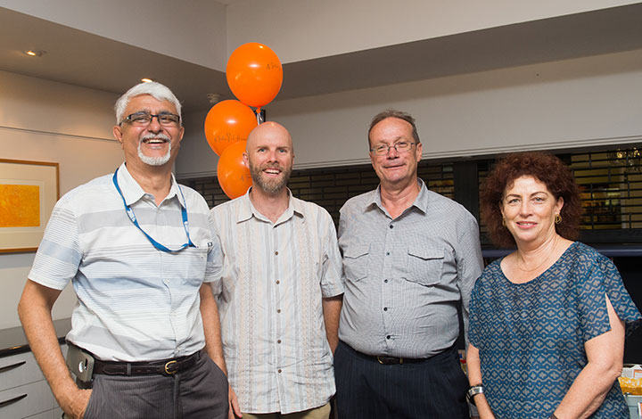 Senior staff members Bharat Desai, Ash Beechey, Dr Steve Shanahan and Pro Vice-Chancellor Christine Robertson