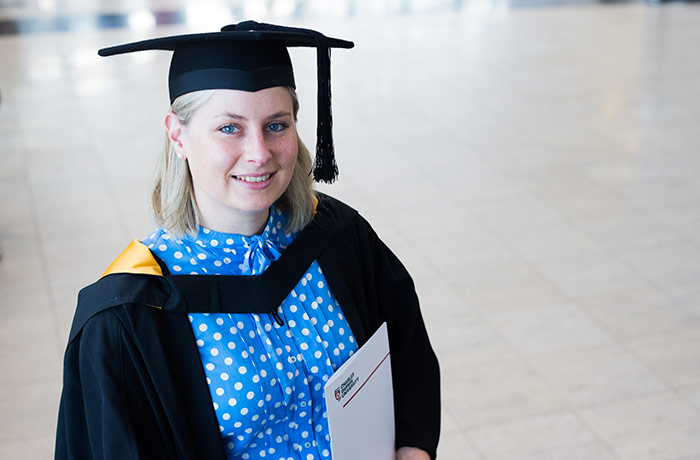 Bachelor of Laws graduate Tessa Hoogerbrugge at the Thursday morning ceremony