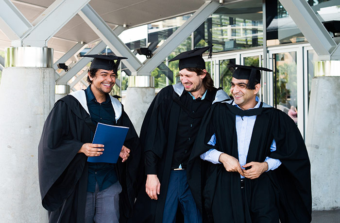 (From left) Avisit Roy, Lukas Vidensky and  Hafiz Sufyan Jared  are happy to be graduating with their Bachelors of Accounting