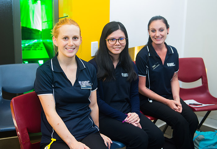 CDU Midwifery students from left: Jessica Macauley, Cherry Lin and Fridae King