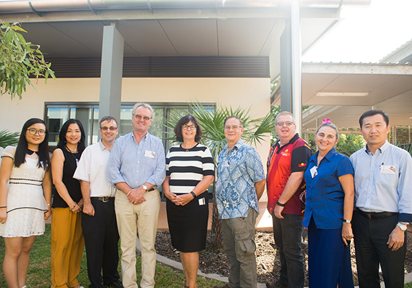 Speakers from left Shang Jingwei, Associate Professor Amy Yu, Dr Peter Shaw, Dr Jon Mason, Professor Sue Carthew, Assoc Prof Greg Shaw, David Murtagh, Marianne St Clair and Hua Wang at the Engagement with China