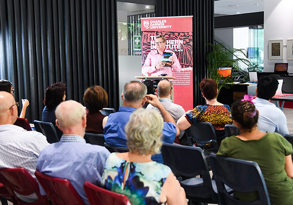Demographer Dr Andrew Taylor at the launch of his new book at the CDU Business School at the Darwin Waterfront