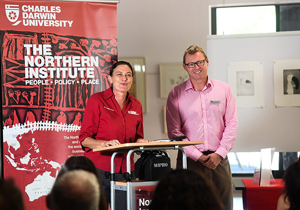 "Northern Institute Director Professor Ruth Wallace and  Dr Andrew Taylor at the launch of ""Settlements at the Edge"""