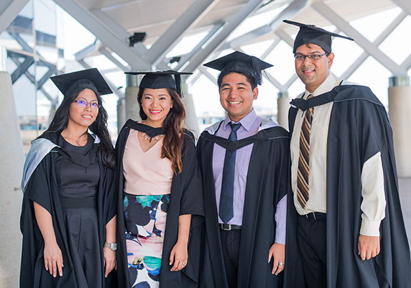 Graduates from left: Janine Paco, Javielle Liwahae, Marty Sison and James Rozario