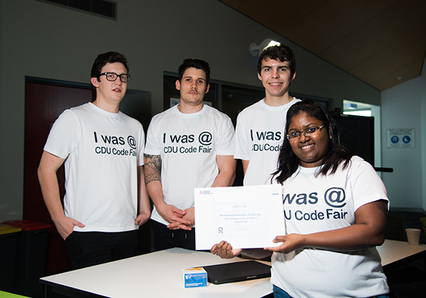 From left: Isaac Taulelei, Nathan Wilson, Jarrad O'Callaghan and Mrinalini Padmanabhan (front) won runner up in business and innovation challenge