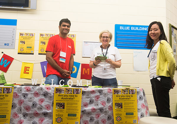 CDU Student Ambassador Ruchir Patil, Welcome Dinner Project coordinator Sally Clifford and international student support and events officer Lana Guo.