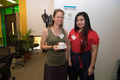 NT Christian College's Andrea Whitehouse with student ambassador Eunice