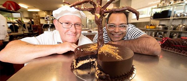 Culinary Arts and Bakery Lecturer David Barker and competition winner, former CDU student Onkar Sharma