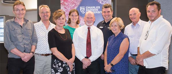 Deputy Vice-Chancellor and Vice-President Research and Research Training Professor Lawrence Cram (second from right), with the 2017 Innov8 speakers Dr Peter Jacklyn, Dr Jon Mason, Associate Professor Julie Brimblecombe, Dr Rebecca Murray, Dr Jim Lee, Dr Martin Boland, Professor Jenny Davis and Stephen Neale