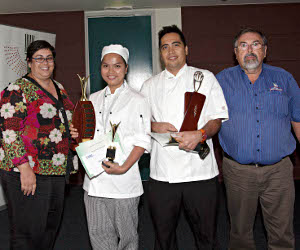 Darwin Convention centre's Andrea Wicking, junior chef Maria Lourdes Hoad, team captain Seljone Selle and Arafura Catering Equipment Roger Pearson at the presentation of trophies for the Grand Champion Territory Culinary Challenge 2013