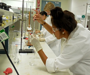 Marrara Christian College student Kelli Sealy adjusting her pipette level at the chemistry titration competition