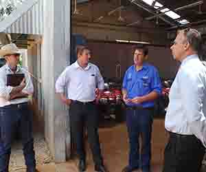 Mataranka Station Manager Stuart Austin, MLA Willem Westra van Holthe, Team Leader Tim Biggs and Chief Minister Adam Giles inspect facilities at Katherine Rural Campus