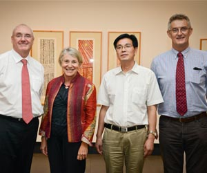 Vice-Chancellor Professor Barney Glover, Deputy Vice-Chancellor Professor Sharon Bell, Experimental School of Fuyang Principal Miao Weiai and NT Government Department of Education Chief Executive Mr Ken Davies