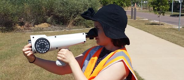 Engineering intern Clara Liebart uses an olfactometer to measure odour at a wastewater treatment plant in Darwin.