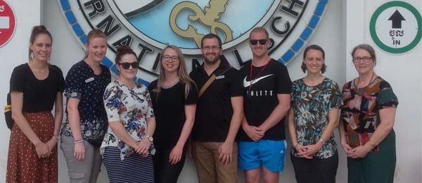 Students including Chloe Murray (far left) have travelled overseas as part of the New Colombo Plan