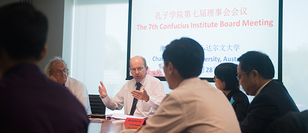 Chinese delegates attended the 7th Confucius Institute Board Meeting with CDU Confucius Institute director Professor Martin Jarvis (left) and Vice-Chancellor Professor Simon Maddocks