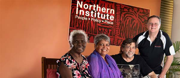 CDU Senior Research Fellows Dr Kathy (Gotha) Guthadjaka AM and Dr Linda Ford together with Colin Baker and Dr Ian McIntosh all gave presentations at the Northern Institute's Aboriginal Cosmology Symposium
