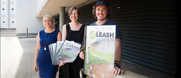 Living Water Smart manager Jacqui O'Neill with Off the Leash managing editor Roslyn Perry and Benji Steane