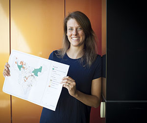 Daly River residents respond to survey. Pictured: CDU Research Fellow, Dr Vanessa Adams
