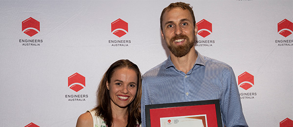 CDU graduate Daly Kelly takes home Young Professional Engineer of the Year Award following his wife Jacinta's win last year.
