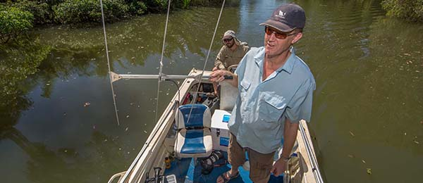 Associate Professor David Crook (right) conducts barramundi tracking work with research assistant Duncan Buckle