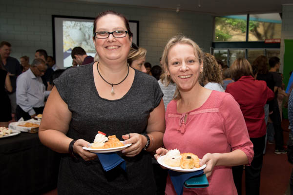 Casey Taylor and Jessica Williams continue the celebrations at morning tea