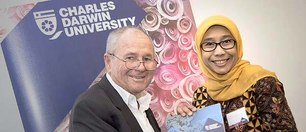 CDU Chancellor Neil Balnaves AO and Dr Deasyanti Adil