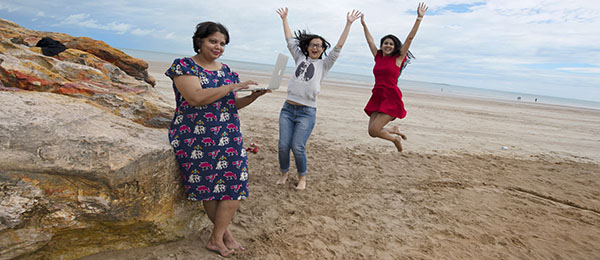 From left: Dr Devaki Monani catches up with international students Qi Feng and Swapna Bupathi