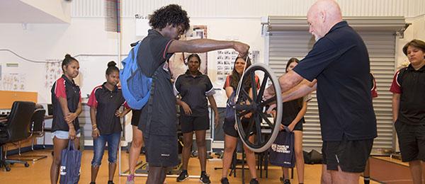 Darwin and Palmerston students took part in Year 10 Discovery Day on Casuarina Campus. Casuarina Senior College student Dray Thompson gave a demonstration with the gyro wheel in the Exercise and Sports Science session