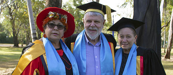 From left: Dr Wendy Ludwig, Batchelor Institute Council Chair Professor Mark Rose and WINU Professor Boni Robertson. Image: Batchelor Institute.