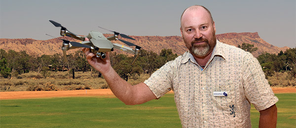 Multi-Media Lecturer Mikey Boyce examines the new drone. This image is a montage