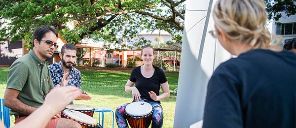 Students are welcome to attend the free weekly drumming circle at Casuarina Campus to connect with their mind and body.