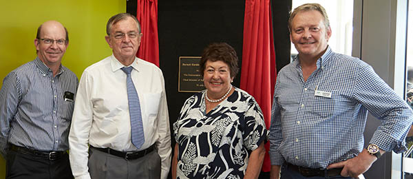 From left: Vice-Chancellor Professor Simon Maddocks, Administrator of the NT His Honour the Honourable John Hardy AO, Mrs Marie Hardy and McMahon Services General Manager Andrew McMahon at the opening of Durack Gardens