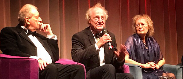 Professor Martin Jarvis (centre) onstage at BAFTA with film director Alex McCall (left) and composer Sally Beamish