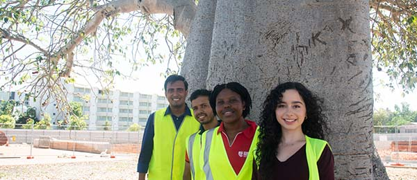 The historic Boab tree at CDU will become a key feature of the new site into the future and will be enjoyed by CDU students (pictured) and the community.
