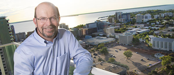 Vice-Chancellor Professor Simon Maddocks overlooks the site for the Education and Civic Precinct in Darwin's CBD, which is part of the Darwin City Deal