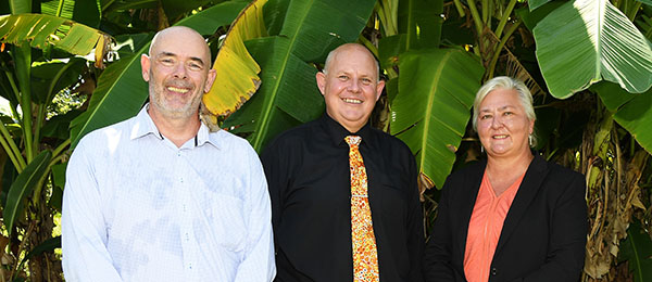 Charles Darwin University Director of Research and Innovation Dr Steve Rogers, Vice-Chancellor Professor Scott Bowman and Senator Sam McMahon at the launch of the Drought Resilience Hub for the Northern Territory Top End and Western Australia