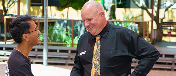 Charles Darwin University's new Vice-Chancellor met staff and students over lunch on his first day at Casuarina campus.