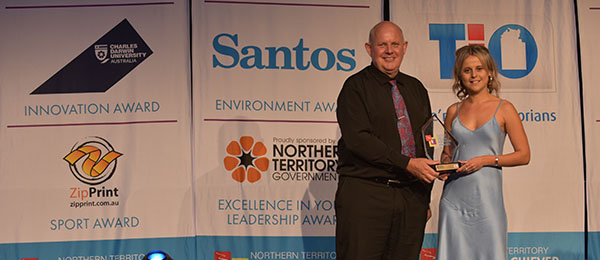 Women's empowerment coach Emma Warren and Professor Scott Bowman AO, Vice-Chancellor and President of Charles Darwin University at the 2021 Northern Territory Young Achiever Awards.